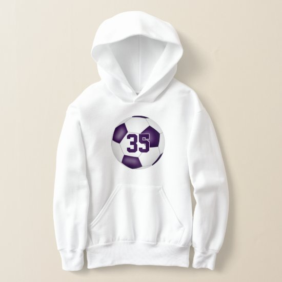 purple white team colors jersey number soccer hoodie