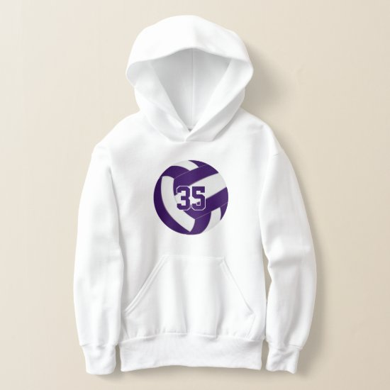 purple white team colors jersey number volleyball hoodie