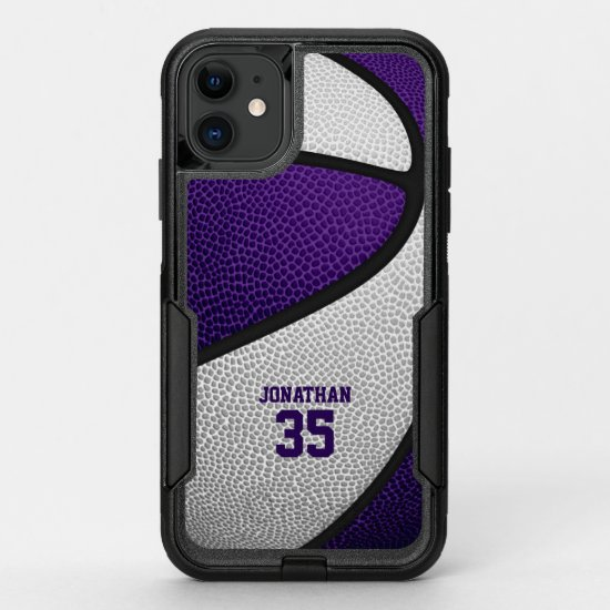 purple white team colors personalized basketball OtterBox commuter iPhone 11 case