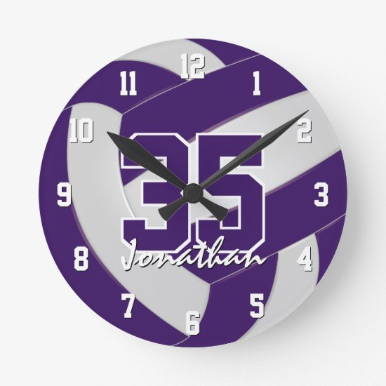 purple white team colors players name volleyball round clock