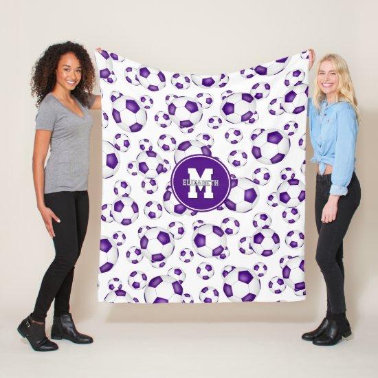 purple white team colors soccer balls pattern fleece blanket