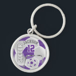 """Purple &amp; White Team Soccer Ball Keychain<br><div class=""""desc"""">Soccer Keychain. When looking straight on at this digital designed purple and white soccer ball, it will give you the realism of a real soccer ball. You can personalize it with your team name, your name, school name and/or number! More colors are available. 100% Customizable. Ready to Fill in the...</div>"""