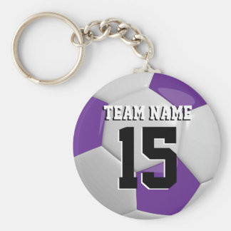 Purple & White Team Soccer Ball Keychain