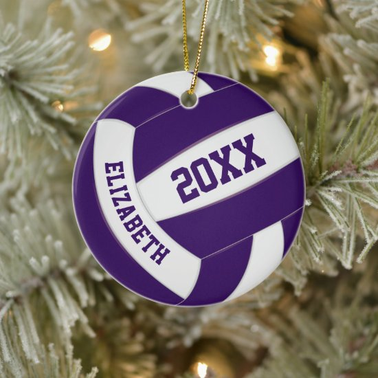 purple white team sports keepsake volleyball ceramic ornament
