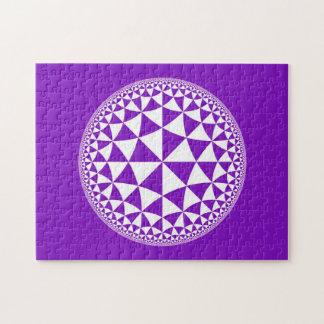 Purple & White Triangle Filled Mandala Jigsaw Puzzle