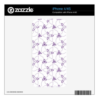 Purple & White Trillium Print Decals For iPhone 4