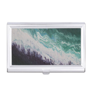 Purple white turquoise abstract northern lights business card case