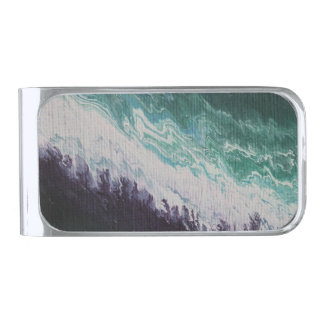 Purple white turquoise abstract northern lights silver finish money clip