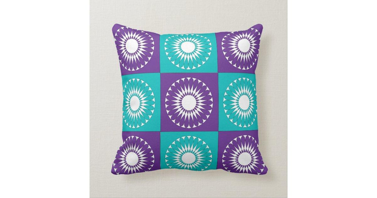 Turquoise And Purple Decorative Pillows : Purple White Turquoise Retro Pattern Pillows Zazzle