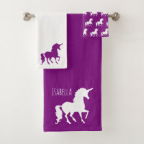 Purple White Unicorn Silhouette Personalized Kid Bath Towel Set