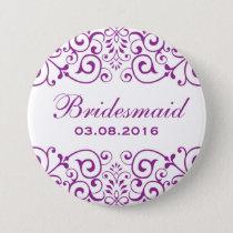 Purple White Victorian Flower Bridesmaid Button