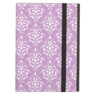 Purple White Vintage Damask Pattern 1 iPad Folio Case