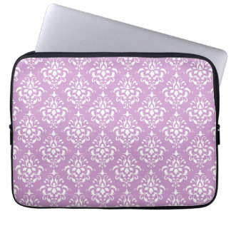 Purple White Vintage Damask Pattern 1 Laptop Sleeve