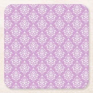 Purple White Vintage Damask Pattern 1 Square Paper Coaster