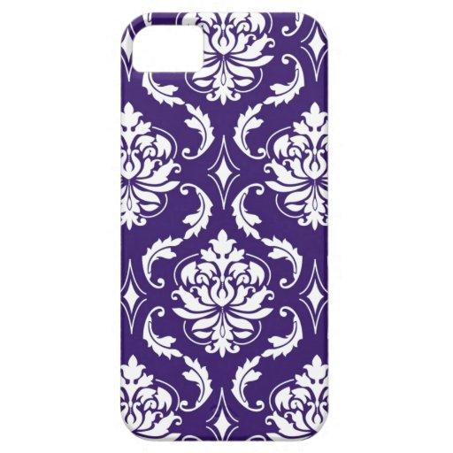 Purple White Vintage Damask Pattern iPhone 5 Case