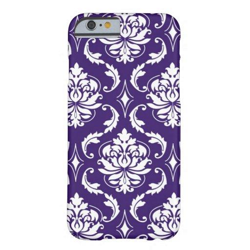 Purple White Vintage Damask Pattern iPhone 6 Case