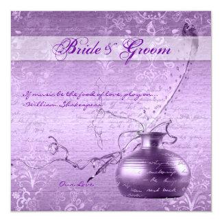 Purple white vintage engagement couple invites