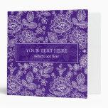 Purple & White  Vintage Lace Pattern-Monogram Binders