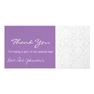 Purple White Vintage Wedding Thank You Photo Cards
