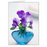 Purple  White Violas   Flowers Blue Vase Floral Card