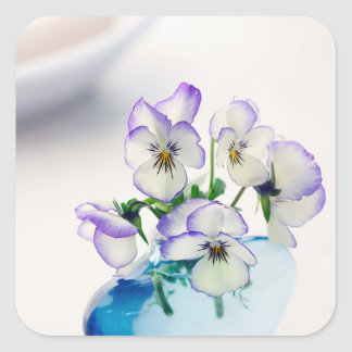 Purple  White Violas   Flowers Blue Vase Floral Square Sticker