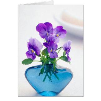 Purple  White Violas   Flowers Blue Vase Floral Stationery Note Card