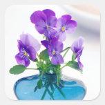 Purple  White Violas   Flowers Blue Vase Floral Square Sticker