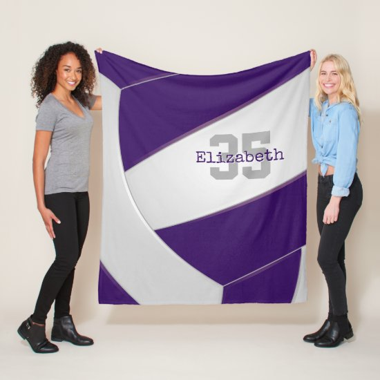 purple white volleyball girls or boys personalized fleece blanket