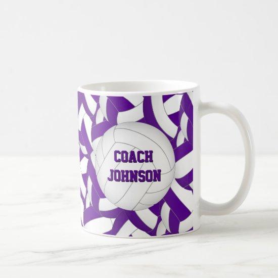 purple white volleyball team colors coach gift coffee mug