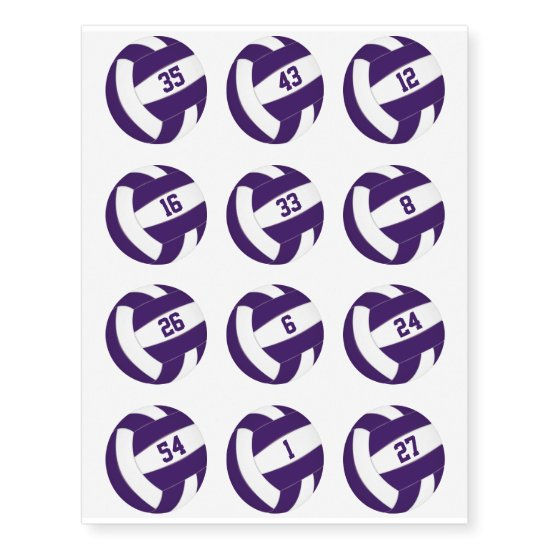 purple white volleyballs w jersey numbers set 12 temporary tattoos