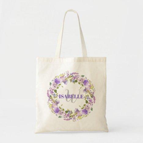 Purple White Watercolor Floral Monogram Name Tote Bag