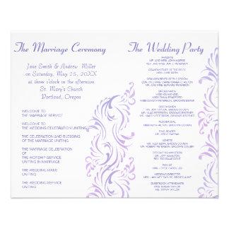 "Purple & white Wedding programs 4.5"" X 5.6"" Flyer"