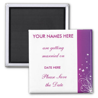 Purple & White Wedding Save The Date Magnet