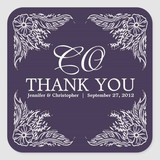 Purple & White Wedding Thank You Monogram Square Sticker