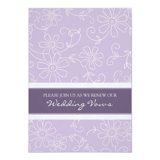 Purple White Wedding Vow Renewal Invitations