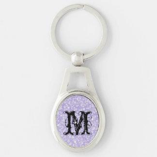purple white wildflowers keychain