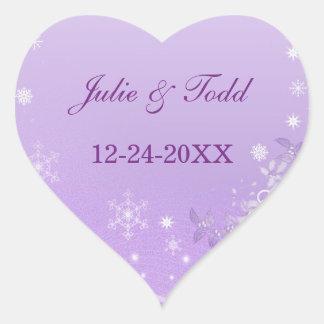 Purple & White Winter Save The Date Wedding Sticker