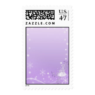 Purple & White Winter Wedding Postage