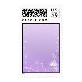 Purple & White Winter Wedding Postage Stamp