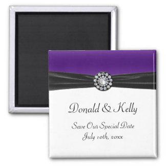 Purple & White With Black Velvet & Diamond Wedding Magnet