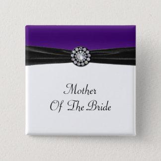 Purple & White With Black Velvet & Diamond Wedding Pinback Button