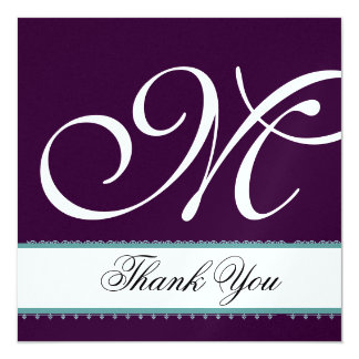 PURPLE & WHITE with TURQUOISE Wedding Thank You Card