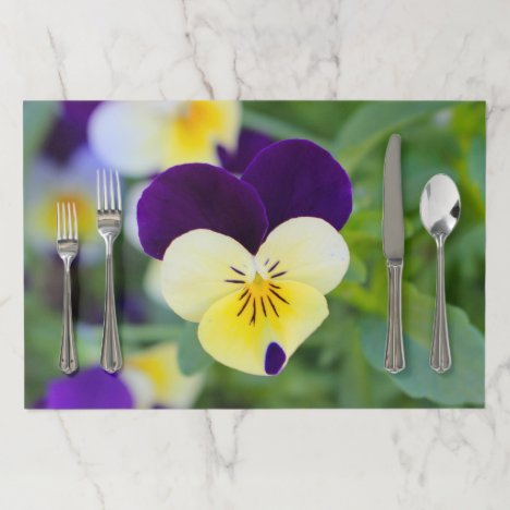 Purple White Yellow Pansy Paper Placemat