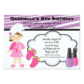 Purple & White Zebra Girls Spa Invite