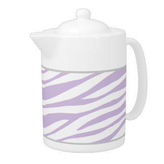 Purple & White Zebra Print 44oz Porcelain Teapot