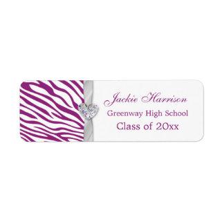 Purple white zebra ribbon, heart Graduation label Return Address Label