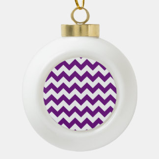 Purple White Zigzag Stripes Chevron Pattern Ceramic Ball Christmas Ornament