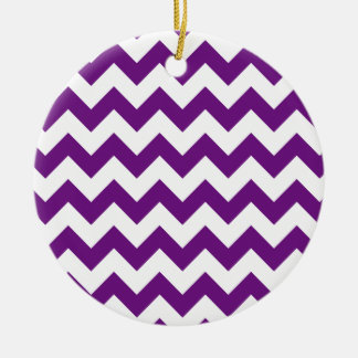 Purple White Zigzag Stripes Chevron Pattern Ceramic Ornament