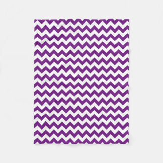 Purple White Zigzag Stripes Chevron Pattern Fleece Blanket