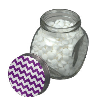 Purple White Zigzag Stripes Chevron Pattern Jelly Belly Candy Jar